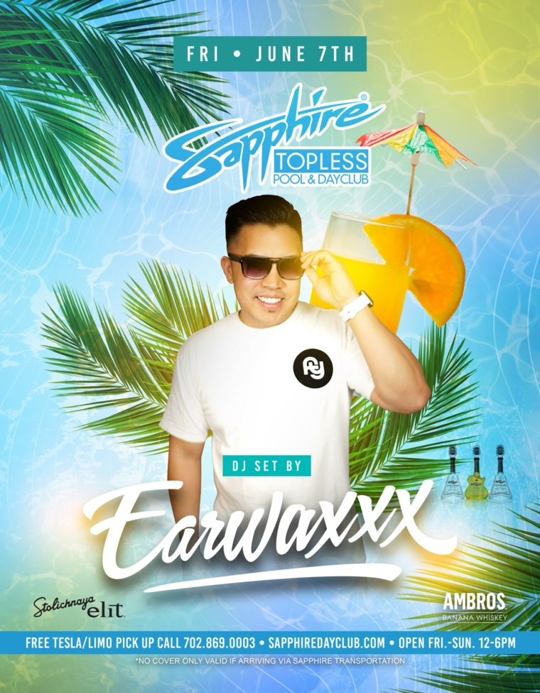 DJ EarWaxxx Performs LIVE Sapphire Topless Pool and