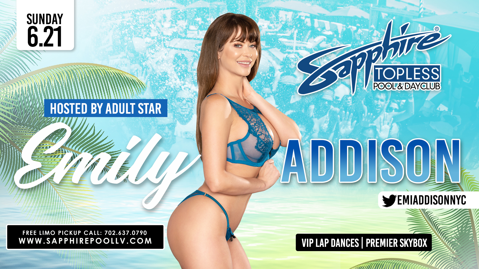 Adult Star Emily Addison Hosts Sapphire Topless Pool and Dayclub Sunday, June 21st