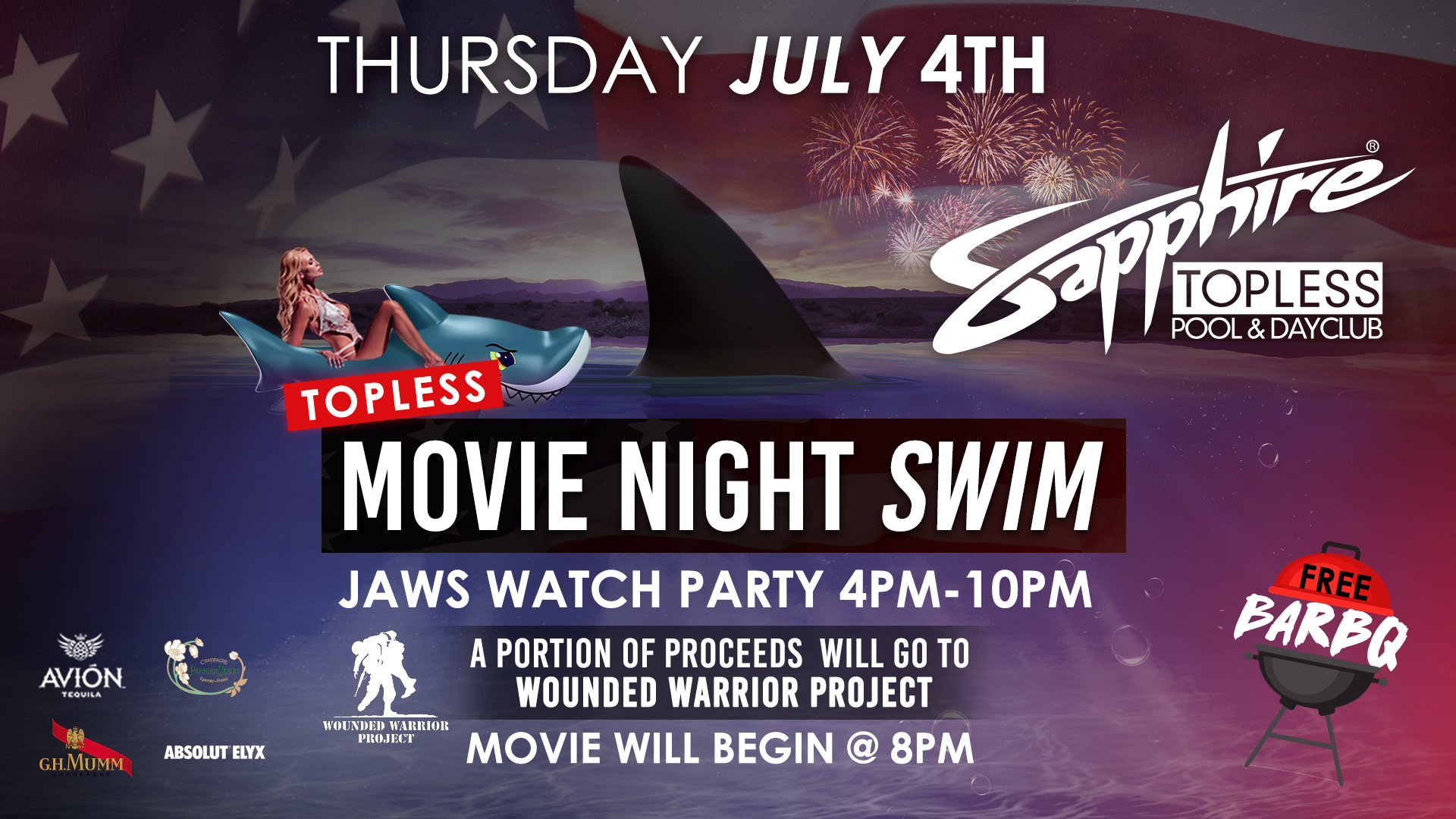 Topless Movie Night Swim – JAWS Watch Party